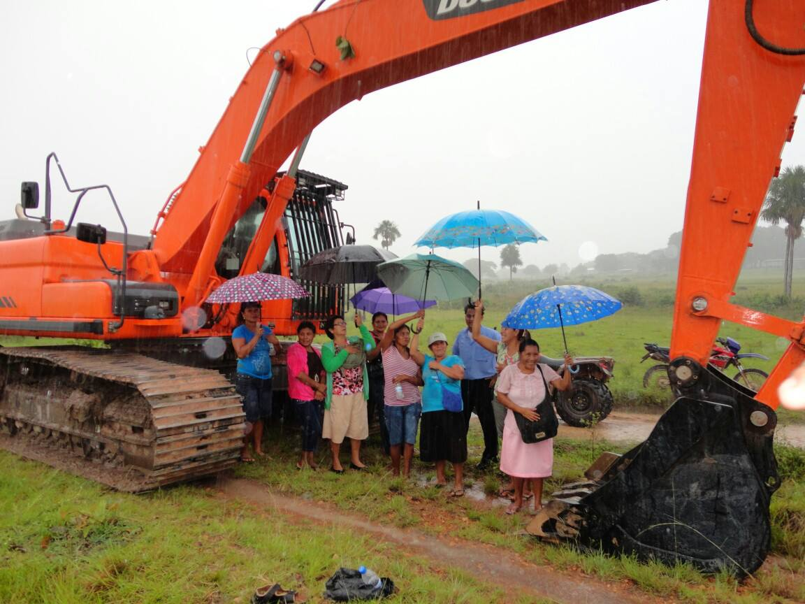 Women from Aishalton, Guyana leading blockade against extraction in Marudi Mountains.